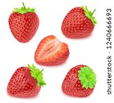 Set of strawberries isolated on ...