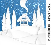 landscape with a winter house... | Shutterstock .eps vector #1240671763