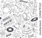 music seamless pattern. hand...   Shutterstock .eps vector #1240679110