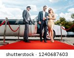 couple arriving with limousine... | Shutterstock . vector #1240687603