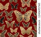 golden foil print on red... | Shutterstock .eps vector #1240695760