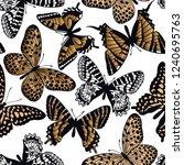 gold and black butterflies on a ... | Shutterstock .eps vector #1240695763