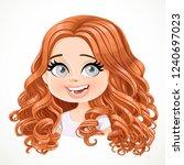 beautiful enthusiastic cartoon... | Shutterstock .eps vector #1240697023