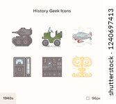 vintage history icons 1940s.... | Shutterstock .eps vector #1240697413