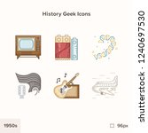 vintage history icons 1950s.... | Shutterstock .eps vector #1240697530