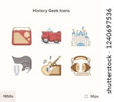 vintage history icons 1950s.... | Shutterstock .eps vector #1240697536
