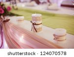 decorated wedding table in the... | Shutterstock . vector #124070578