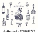 Gentleman in top hat holding a glass of alcohol drink. Hand drawn vector illustration with wine bottle, champagne, tequila, decanter, glass of whisky and cigar, stopper, stopper, corkscrew. Vintage  - stock vector