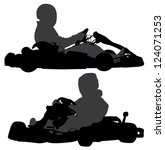 go kart silhouette on white... | Shutterstock .eps vector #124071253
