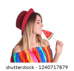 young pretty girl with candy on ... | Shutterstock . vector #1240717879