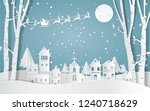 santa claus driving in a sledge ... | Shutterstock .eps vector #1240718629