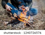 meat on the stick grilled in the fire. bushcraft concept - stock photo