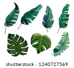 tropical watercolor leaves set. ... | Shutterstock .eps vector #1240727569