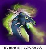 illustration of a blue dragon... | Shutterstock . vector #1240738990