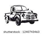 vintage pickup truck silhouette ...   Shutterstock .eps vector #1240743463