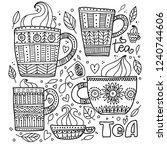set of beautiful doodle cups... | Shutterstock .eps vector #1240744606