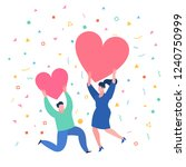 concept of love. mini people... | Shutterstock .eps vector #1240750999