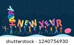 fun little people bringing huge ... | Shutterstock .eps vector #1240756930