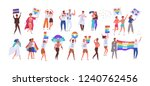 crowd of people taking part in... | Shutterstock .eps vector #1240762456