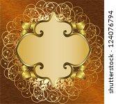 Golden Floral Frame. Raster...
