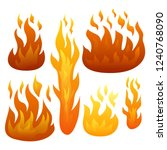 set of six fire flames isolated ... | Shutterstock .eps vector #1240768090