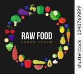 fresh fruits and vegetables... | Shutterstock .eps vector #1240769899
