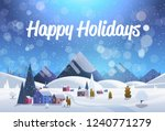 winter village houses mountains ... | Shutterstock .eps vector #1240771279