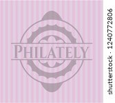 philately pink emblem. vintage. | Shutterstock .eps vector #1240772806