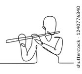 person playing flute one line... | Shutterstock .eps vector #1240776340