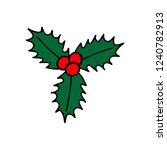 three holly leaves with red... | Shutterstock .eps vector #1240782913