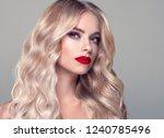 blonde curly long hair woman... | Shutterstock . vector #1240785496