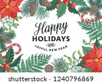 vintage christmas card with... | Shutterstock .eps vector #1240796869
