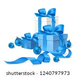 set of decorative gift boxes... | Shutterstock .eps vector #1240797973