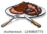 grilled roasted ribs on the... | Shutterstock .eps vector #1240805773