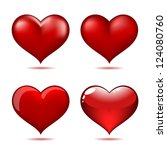 set of big red hearts  vector... | Shutterstock .eps vector #124080760