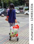 Small photo of Shenzhen, China - November 24 2018: woman carrying groceries in shopping cart full of plastic shopping bags. Inconsiderate use of plastic bags is one of the biggest source of environment pollution.