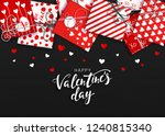 saint valentine's day. red gift ... | Shutterstock .eps vector #1240815340