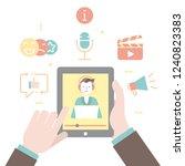 to watch stream video  online... | Shutterstock .eps vector #1240823383