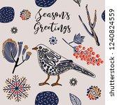 winter holidays pattern design. | Shutterstock .eps vector #1240824559