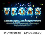 golden font with neon on the... | Shutterstock .eps vector #1240825690