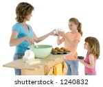 mother and two girls baking... | Shutterstock . vector #1240832