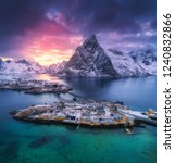 aerial view of hamnoy at... | Shutterstock . vector #1240832866