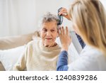 a health visitor combing hair... | Shutterstock . vector #1240839286