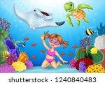 cartoon little girl diving in... | Shutterstock .eps vector #1240840483