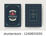 christmas greeting card design... | Shutterstock .eps vector #1240853350