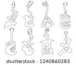 abstract guitar outline set  | Shutterstock .eps vector #1240860283