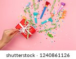 gift box with various party... | Shutterstock . vector #1240861126