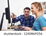 businessman giving computer...   Shutterstock . vector #1240869256