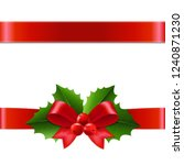 holly berry ribbon with... | Shutterstock .eps vector #1240871230
