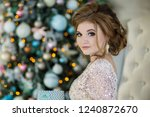 beautiful young woman at... | Shutterstock . vector #1240872670